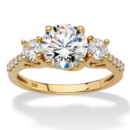 Round Cubic Zirconia 3-Stone Engagement Ring 2.62 TCW in 18k Gold over Sterling Silver at PalmBeach Jewelry