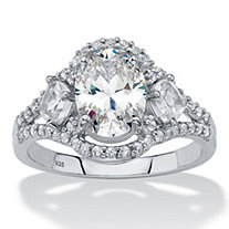 Oval and Princess-Cut Created White Sapphire Halo Engagement Ring 3.12 TCW in Platinum over Sterling Silver