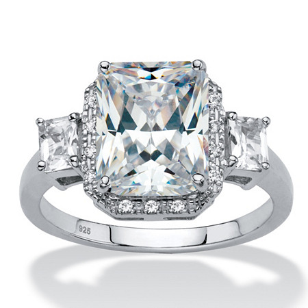 Emerald-Cut Created White Sapphire 3-Stone Halo Engagement Ring 2.91 TCW in Platinum over Sterling Silver at PalmBeach Jewelry