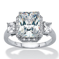 Emerald-Cut Created White Sapphire 3-Stone Halo Engagement Ring 2.91 TCW in Platinum over Sterling Silver