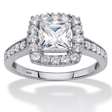Princess-Cut Created White Sapphire Halo Engagement Ring 1.99 TCW in Platinum over Sterling Silver at PalmBeach Jewelry