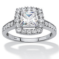 SETA JEWELRY Princess-Cut Created White Sapphire Halo Engagement Ring 1.99 TCW in Platinum over Sterling Silver