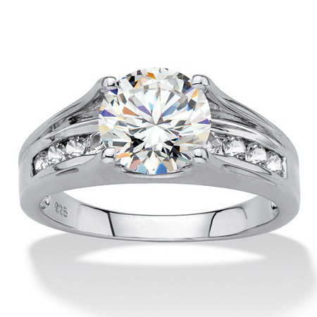 Round Created White Sapphire Bridge Engagement Ring 2.80 TCW in Platinum over Sterling Silver at PalmBeach Jewelry