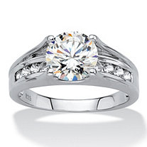 Round Created White Sapphire Bridge Engagement Ring 2.80 TCW in Platinum over Sterling Silver