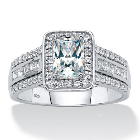 Emerald-Cut Created White Sapphire Triple-Row Halo Engagement Ring 1.94 TCW in Platinum over Sterling Silver at PalmBeach Jewelry