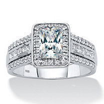 Emerald-Cut Created White Sapphire Triple-Row Halo Engagement Ring 1.94 TCW in Platinum over Sterling Silver
