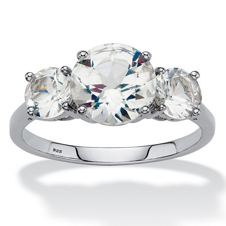 Round Created White Sapphire 3-Stone Engagement Ring 3.55 TCW in Platinum over Sterling Silver at PalmBeach Jewelry