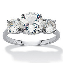 Round Created White Sapphire 3-Stone Engagement Ring 3.55 TCW in Platinum over Sterling Silver