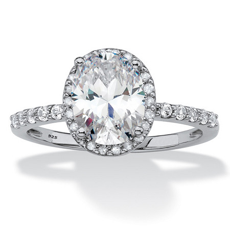 Oval-Cut Created White Sapphire and Diamond Halo Engagement Ring 2.80 TCW in Platinum over Sterling Silver at PalmBeach Jewelry