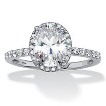 SETA JEWELRY Oval-Cut Created White Sapphire and Diamond Halo Engagement Ring 2.80 TCW in Platinum over Sterling Silver
