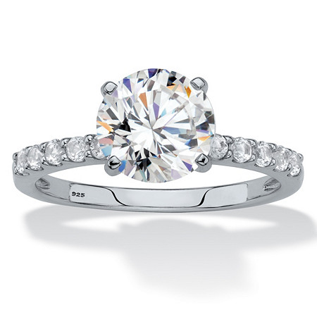 Round Created White Sapphire Engagement Ring 2.69 TCW in Platinum over Sterling Silver at PalmBeach Jewelry