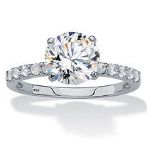SETA JEWELRY Round Created White Sapphire Engagement Ring 2.69 TCW in Platinum over Sterling Silver