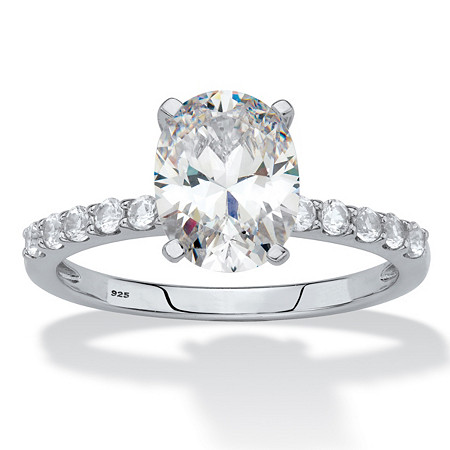 Oval-Cut Created White Sapphire Engagement Ring 2.64 TCW in Platinum over Sterling Silver at PalmBeach Jewelry