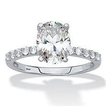 SETA JEWELRY Oval-Cut Created White Sapphire Engagement Ring 2.64 TCW in Platinum over Sterling Silver