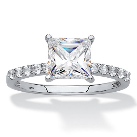 Princess-Cut Created White Sapphire Engagement Ring 2.44 TCW in Platinum over Sterling Silver at PalmBeach Jewelry