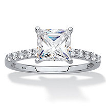 Princess-Cut Created White Sapphire Engagement Ring 2.44 TCW in Platinum over Sterling Silver