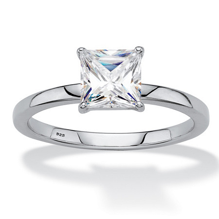 Princess-Cut Created White Sapphire Solitaire Engagement Ring 2 TCW in Platinum over Sterling Silver at PalmBeach Jewelry