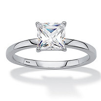 SETA JEWELRY Princess-Cut Created White Sapphire Solitaire Engagement Ring 2 TCW in Platinum over Sterling Silver