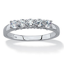 SETA JEWELRY Round Created White Sapphire Single Row Band .70 TCW in Platinum over Sterling Silver