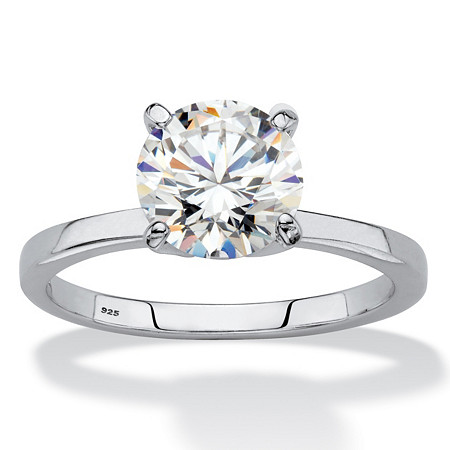 Round Created White Sapphire Solitaire Engagement Ring 2 TCW in Platinum over Sterling Silver at PalmBeach Jewelry