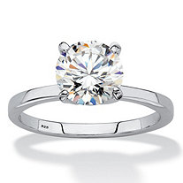 SETA JEWELRY Round Created White Sapphire Solitaire Engagement Ring 2 TCW in Platinum over Sterling Silver