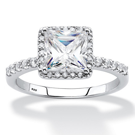 Princess-Cut Created White Sapphire and Diamond Engagement Ring 2.59 TCW in Platinum over Sterling Silver at PalmBeach Jewelry