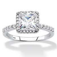 White Sapphire And Diamond Engagement Ring 2.59 TCW In Platinum Over Sterling Silver ONLY $49.99