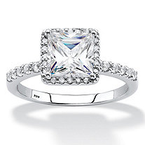 SETA JEWELRY Princess-Cut Created White Sapphire and Diamond Engagement Ring 2.59 TCW in Platinum over Sterling Silver