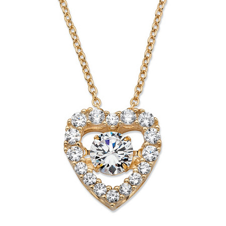 "Round CZ in Motion Cubic Zirconia Heart Pendant Necklace 1.56 TCW in 14k Gold over Sterling Silver 18"" at PalmBeach Jewelry"
