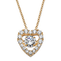 Round CZ in Motion Cubic Zirconia Heart Pendant Necklace 1.56 TCW in 14k Gold over Sterling Silver 18
