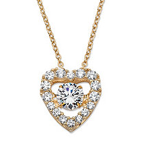 Round CZ in Motion Cubic Zirconia Heart Pendant Necklace 1.56 TCW in 14k Gold over Sterling Silver 18""