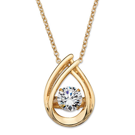 "Round CZ in Motion Cubic Zirconia Double Loop Pendant Necklace .98 TCW in 14k Gold over Sterling Silver 18"" at PalmBeach Jewelry"