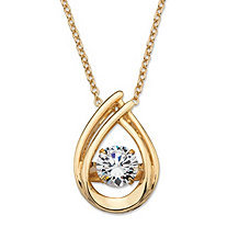 Round CZ in Motion Cubic Zirconia Double Loop Pendant Necklace .98 TCW in 14k Gold over Sterling Silver 18""