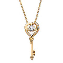 Round CZ in Motion Cubic Zirconia Heart Key Pendant Necklace .60 TCW in 14k Gold over Sterling Silver 18""