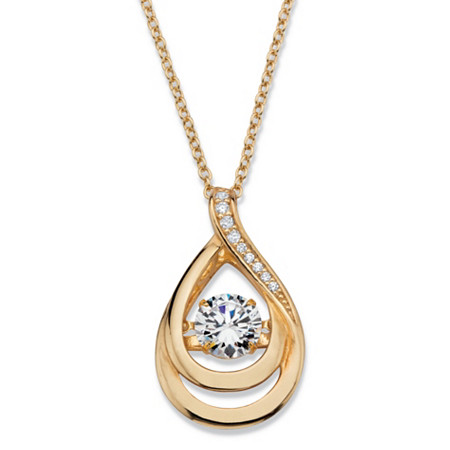 1.04 TCW CZ in Motion Cubic Zirconia Double Teardrop Pendant Necklace in 14k Gold over Sterling Silver 18