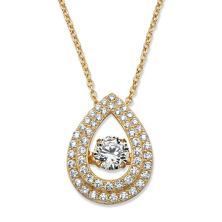 """Round CZ in Motion Cubic Zirconia Double Teardrop Pendant Necklace 1.64 TCW in 14k Gold over Sterling Silver 18"""" at PalmBeach Jewelry"""