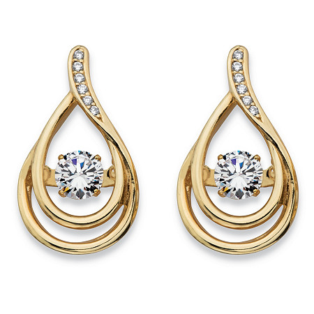 Round CZ in Motion Cubic Zirconia Double Teardrop Drop Earrings .76 TCW in 14k Gold over Sterling Silver at PalmBeach Jewelry