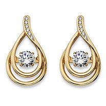 Round CZ in Motion Cubic Zirconia Double Teardrop Drop Earrings .76 TCW in 14k Gold over Sterling Silver