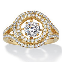 Round CZ in Motion Cubic Zirconia Double Halo Ring 1.74 TCW in 14k Gold over Sterling Silver