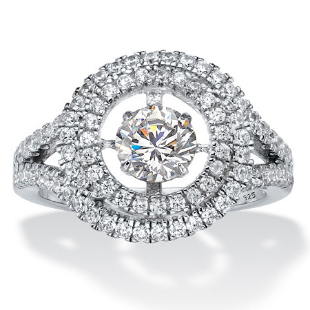 Round CZ in Motion Cubic Zirconia Double Halo Ring 1.74 TCW in Platinum over Sterling Silver at PalmBeach Jewelry