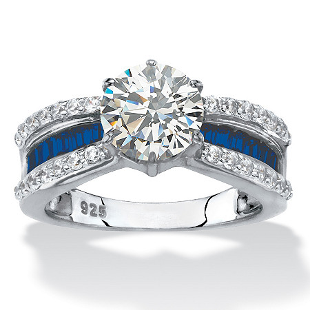 Round Cubic Zirconia and Blue Crystal Engagement Ring 2.36 TCW in Platinum over Sterling Silver at PalmBeach Jewelry