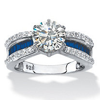 Round Cubic Zirconia and Blue Crystal Engagement Ring 2.36 TCW in Platinum over Sterling Silver