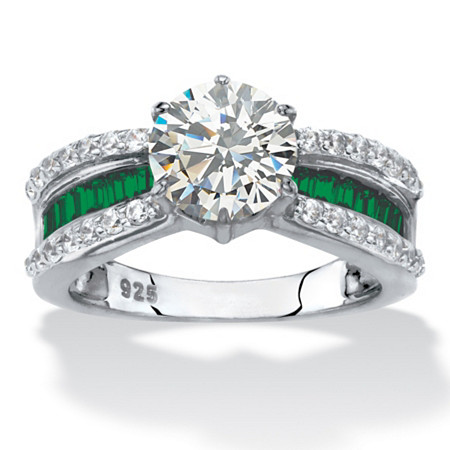 Round Cubic Zirconia and Green Crystal Engagement Ring 2.36 TCW in Platinum over Sterling Silver at PalmBeach Jewelry