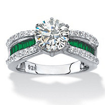Round Cubic Zirconia and Simulated Green Emerald Engagement Ring 2.63 TCW in Platinum over Sterling Silver
