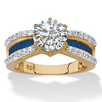 Round Cubic Zirconia and Simulated Blue Sapphire Engagement Ring 2.76 TCW in 14k Gold over Sterling Silver