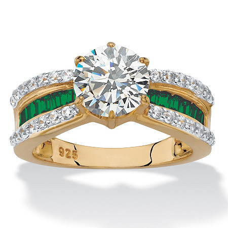 Round Cubic Zirconia and Green Crystal Engagement Ring 2.36 TCW in 14k over Sterling Silver at PalmBeach Jewelry