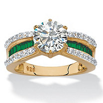 Round Cubic Zirconia and Green Crystal Engagement Ring 2.36 TCW in 14k over Sterling Silver