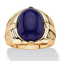 Men's Oval-Cut Genuine Blue Lapis Cabochon Ring 14k Gold-Plated