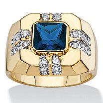 Men's Square-Cut Simulated Blue Spinel and White Cubic Zirconia Octagon Ring .42 TCW 14k Gold-Plated