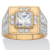 Men's Square-Cut Cubic Zirconia Geometric Ring 3.85 TCW 14k Gold-Plated